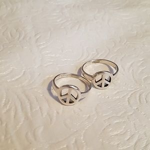 Set of 2 Sterling 925 Peace Sign Rings Size 7